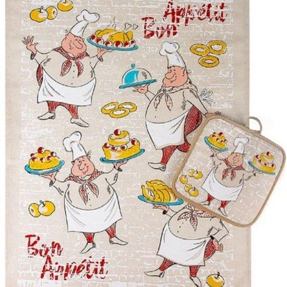 NWT Bon Appetit Chef ThemedKitchen TowelPot Holder